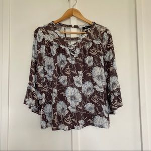 Miss Me Blue Floral Blouse 3/4 Length Sleeve